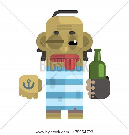 Drunk Alcoholic With Shiner And A Bottle, Revolting Homeless Person, Dreg Of Society, Pixelated Simplified Male Vagabond Character. Scary And Disgusting Outcast Addict Isolated Vector Flat Icon.