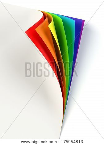 Blank document rainbow colored curled corner. Graphic design element. Empty template mock up. Business corporate identity advertisement poster with turning corner colors and shadow. 3D illustration