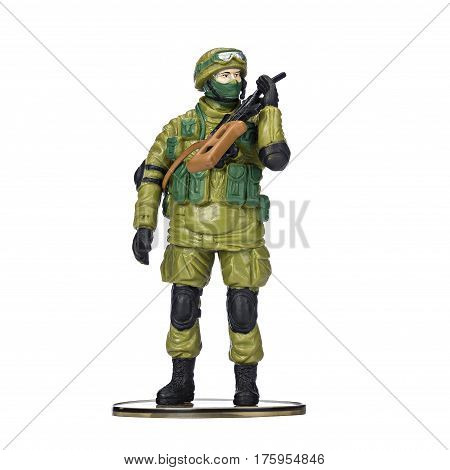 Plastic soldier, military ammunition, on isolated white background