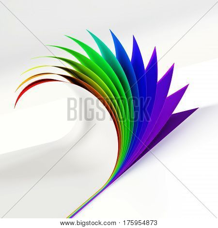 Blank document rainbow colored curled corner side view. Graphic design element. Empty poster template mock up. Diversity, love, equity, every color of the rainbow concept. 3D illustration