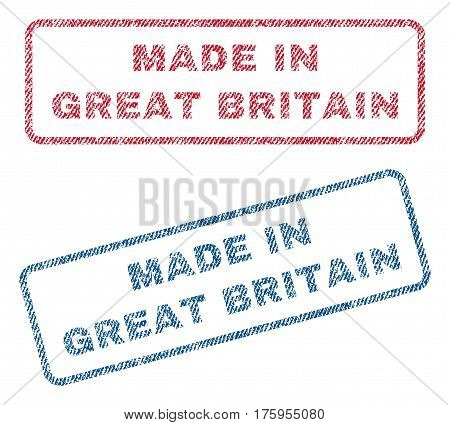 Made In Great Britain text textile seal stamp watermarks. Blue red fabric vectorized texture. Vector caption inside rounded rectangular shape. Rubber sticker with fiber textile structure.