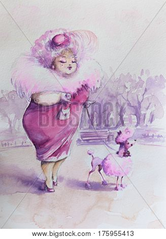 Lady in pink walking with poodle in park. Picture created with watercolors.