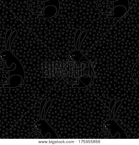 Linear Easter bunny pattern with bunnies and eggs. Cute vector black and white Easter bunny pattern. Seamless monochrome Easter bunny pattern for fabric, wrapping paper, cards and web backgrounds.