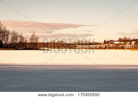 Frozen Countryside Scene In Winter