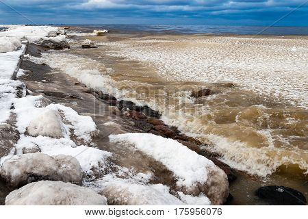 Frozen Countryside Scene In Winter