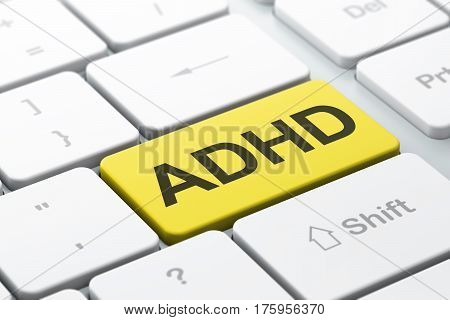 Medicine concept: computer keyboard with word ADHD, selected focus on enter button background, 3D rendering