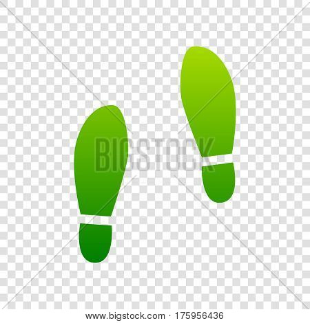 Imprint Soles Shoes Sign. Vector. Green Gradient Icon On Transparent Background.