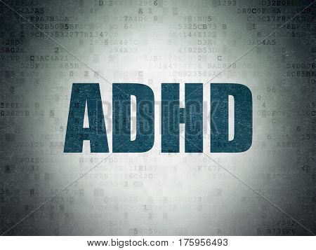 Health concept: Painted blue word ADHD on Digital Data Paper background