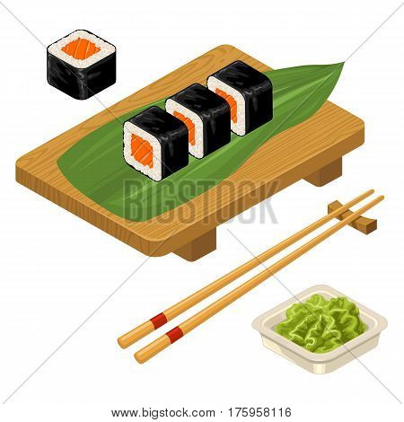 Sushi roll with fish chopsticks wasabi in bowl and wood board. Isolated on white background. Vector flat color illustration. For icon and menu