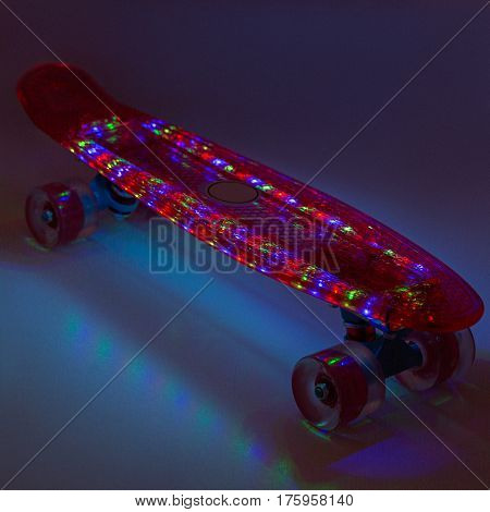 Skateboard, collage, Dark on a background with backlight