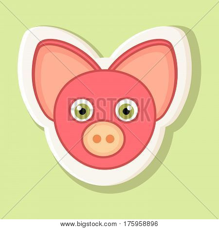Sticker with the face of a pink pig in cartoon style is isolated on a simple background. Picture pig with a contour.