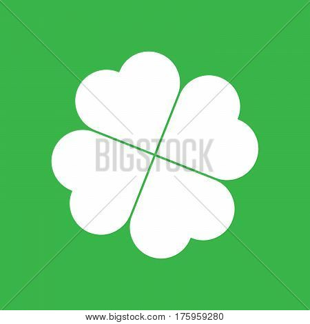 Shamrock silhouette - white four leaf clover icon on green background. Good luck theme design element. Simple geometrical shape vector illustration.