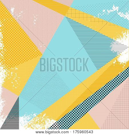 Abstract vector background in trendy retro 80s 90s memphis style. Universal card pastel colors. Retro design fashion art. Modern abstract design poster cover card design. Geometric background in retro 80s-90s style. Memphis trendy art.