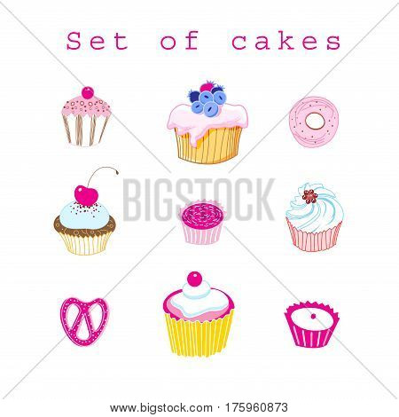 Vector set of delicious cakes on white background