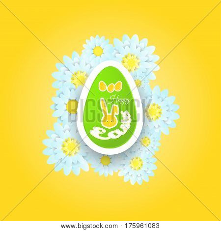 Vector poster of Happy Easter on the gradient yellow background with label rabbit egg flower and text cut from paper.