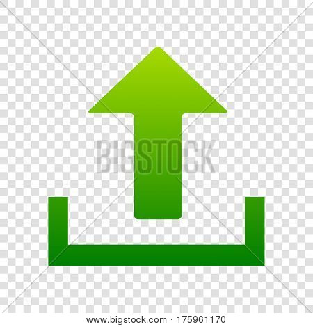 Upload Sign Illustration. Vector. Green Gradient Icon On Transparent Background.