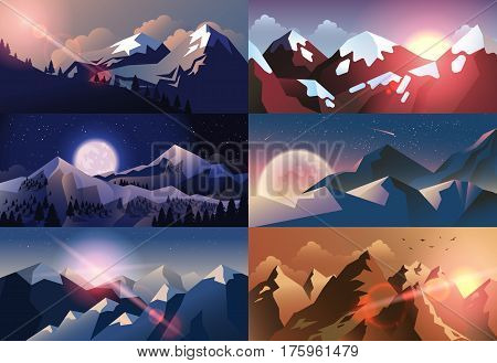 Stock vector illustration horizontal background mountain landscape in flat style at night, at sunset or sunrise sunshine, solar beams, sunlight, stars, big full moon snow-capped peaks header, brochure