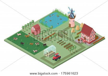 Isometric agricultural farming concept with buildings garden vegetables flowers fields cows ducks tractor and greenhouse vector illustration