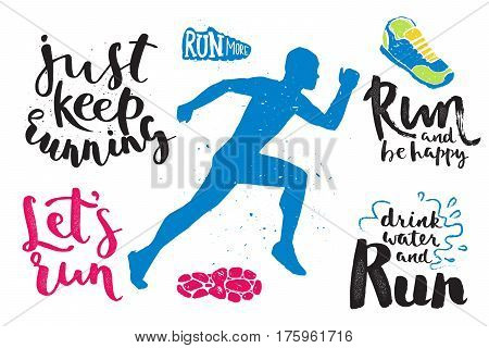 Running marathon logo jogging emblems label and fitness training athlete symbol sprint motivation badge success work isolated vector illustration. Active runner speed exercise competition text.