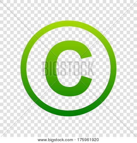 Copyright Sign Illustration. Vector. Green Gradient Icon On Transparent Background.