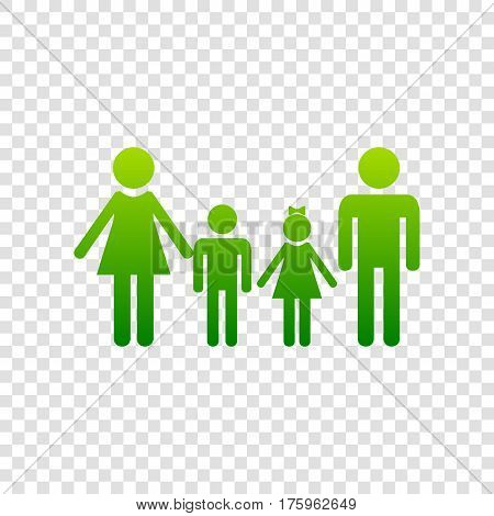 Family Sign. Vector. Green Gradient Icon On Transparent Background.