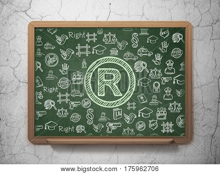 Law concept: Chalk Green Registered icon on School board background with  Hand Drawn Law Icons, 3D Rendering