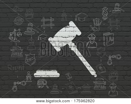 Law concept: Painted white Gavel icon on Black Brick wall background with Scheme Of Hand Drawn Law Icons