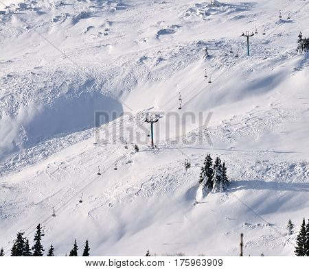 ski lift chairs on hillside Vitosha Mountain Bulgaria