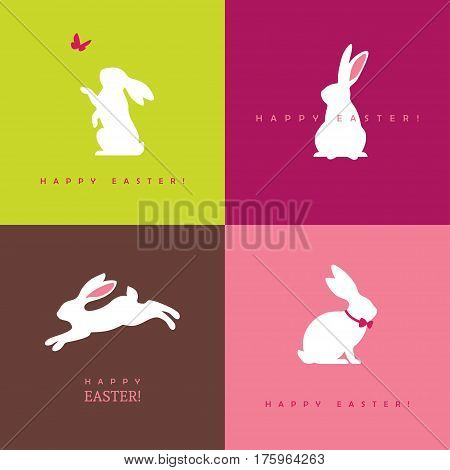Set of four white bunny silhouettes for easter greeting card banner or poster design. Rabbit icon.