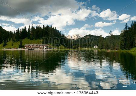 Reflection of Lake Misurina and Tre Cime di Laveredo