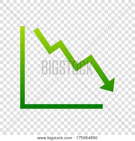 Arrow Pointing Downwards Showing Crisis. Vector. Green Gradient Icon On Transparent Background.