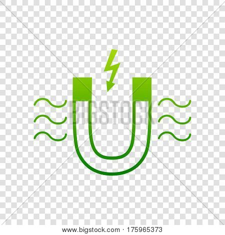 Magnet With Magnetic Force Indication. Vector. Green Gradient Icon On Transparent Background.