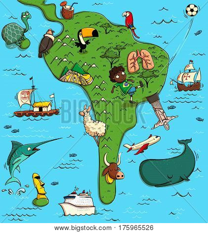 Illustrated Map of South America. With funny and typical objects people activities animals plants history etc. Illustration in eps10 vector continent on separate layer.