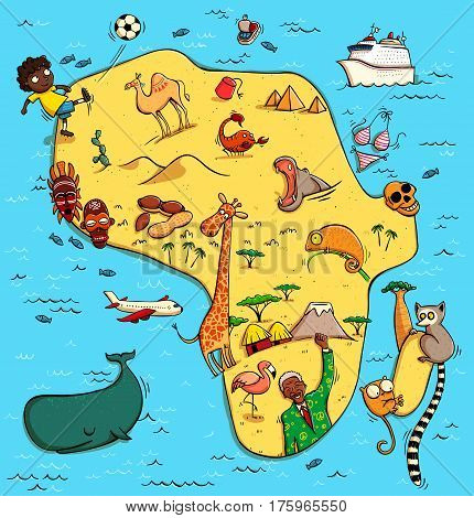 Illustrated Map of Africa. With funny and typical objects people activities animals plants history etc. Illustration in eps10 vector continent on separate layer.
