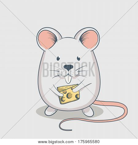 Funny mouse keeps cheese.Cartoon childish vector illustration.