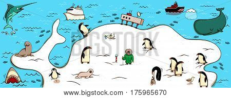 Illustrated Map of Antartica. With funny and typical objects people activities animals plants history etc. Illustration in eps10 vector continent on separate layer.