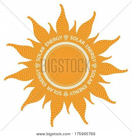 Orange abstract sun shape with inside power waves. isolated on white background. the text solar energy is around the circle.