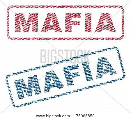 Mafia text textile seal stamp watermarks. Blue red fabric vectorized texture. Vector tag inside rounded rectangular shape. Rubber sticker with fiber textile structure.
