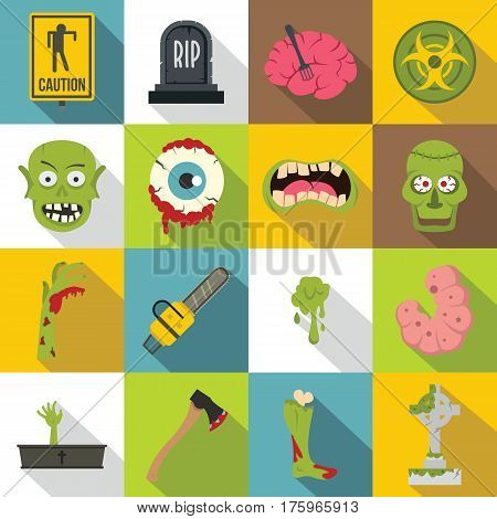 Zombie icons set parts. Flat illustration of 16 zombie parts vector icons for web