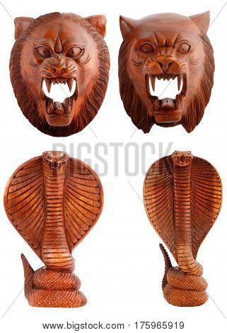 Wooden figurines, decorative figurines, tiger, cobra, snake, Isolated on a white background