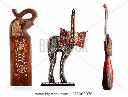 Wooden figurines, decorative figurines, Elephant, Isolated on a white background