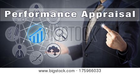 Male HR manager in blue suit is initiating a Performance Appraisal. Human resources management metaphor and business concept for performance review or evaluation and career development discussion.