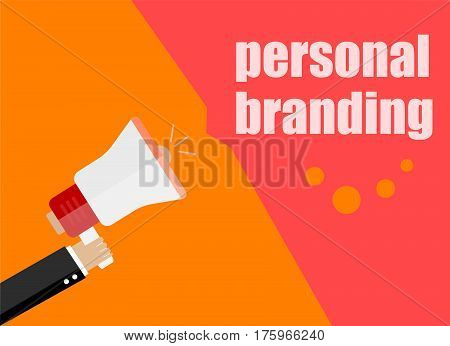 Flat Design Business Concept. Personal Branding. Digital Marketing Business Man Holding Megaphone Fo
