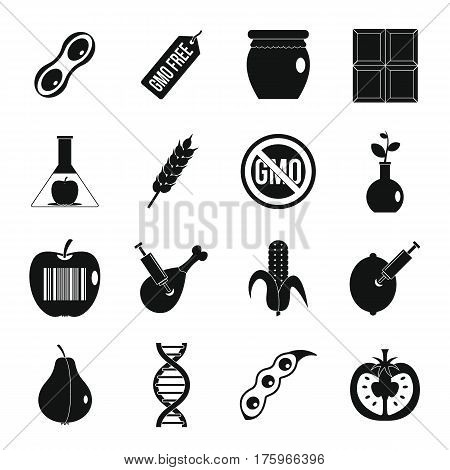 GMO icons set food. Simple illustration of 16 GMO food vector icons for web