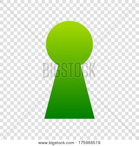 Keyhole Sign Illustration. Vector. Green Gradient Icon On Transparent Background.