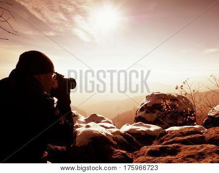 Man Photographer Takes Picture. Marvelous Freeze Autumn