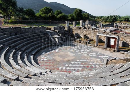 The Ekklesiasterion of the Asklepieion in the archaeological site of ancient Messene in Peloponnese, Greece