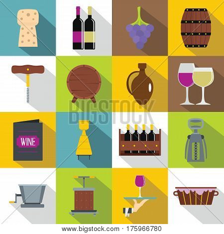 Wine icons set. Flat illustration of 16 wine vector icons for web