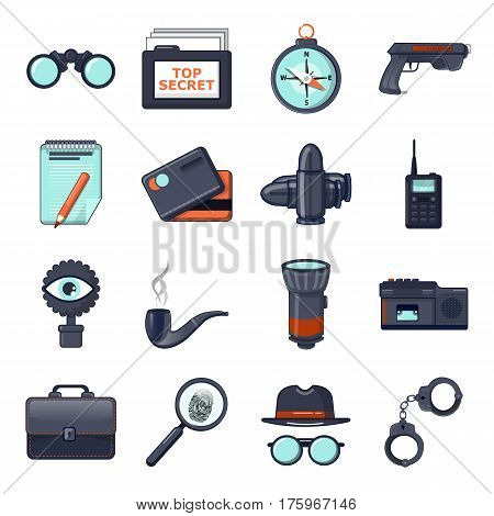 Spy icons set secret investigation. Cartoon illustration of 16 spy vector icons for web
