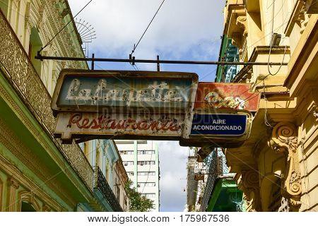 Havana Cuba - Jan 8 2017: Lafayette Bar neon sign in Havana Cuba.